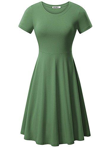 (HUHOT Army Green Dress, Women Short Sleeve Round Neck T-Shirt Midi Tunic Dress(Small))