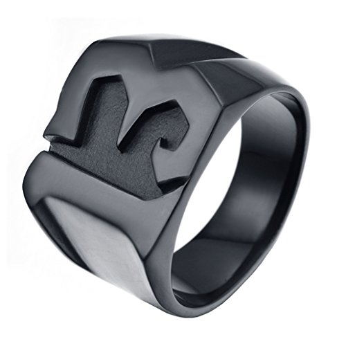 INRENG Men's Stainless Steel Number 13 Lucky Ring High Polished Biker Band Black Size 14]()