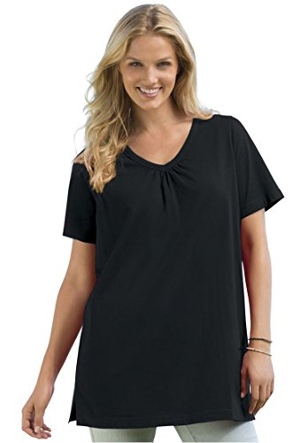Womens Plus Size Top In Tunic Length  The Perfect Cotton V Neck With Shirring