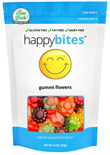 Happy Bites Gummi Flowers - Zero Gluten, Fat, and Dairy - Resealable Pouch (1 Pound)]()