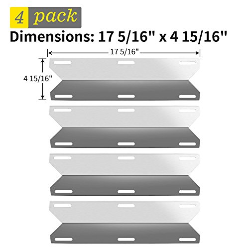 SHINESTAR Grill Replacement Parts for Charmglow 720-0304, Perfect Flame 720-0522, Members Mark, Nexgrill and More, 4-Pack 17 5/16 inch Stainless Steel Heat Shield Plate Tent BBQ Burner Cover(SS-HP032) by SHINESTAR