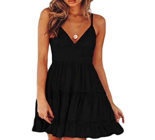Domple Womens Sexy V-cou Noeud Papillon Glissement Swing Plissée Coutures Dentelle Mini-robe Noire
