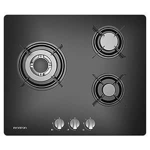 IN Placa DE Gas 3 Fuegos INFINITON Acabado Cristal (Encendido electronico, Controles Inferiores, Facil Limpieza) (3 Fuegos)
