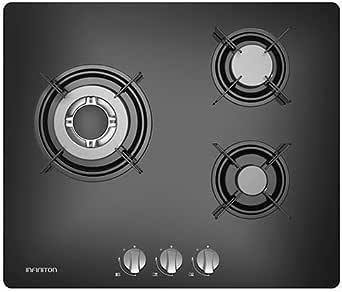 Placa DE Gas 3 Fuegos INFINITON Acabado Cristal (Encendido electronico, Controles Inferiores, Facil Limpieza) (3 Fuegos): Amazon.es: Grandes electrodomésticos