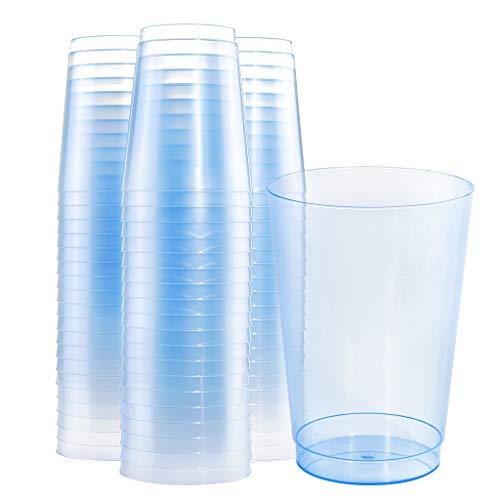 BUCLA 100pcs 12OZ Blue Plastic Cups-Disposable Plastic Cups-Premium Unbreakable Wedding Cups-Party Cups