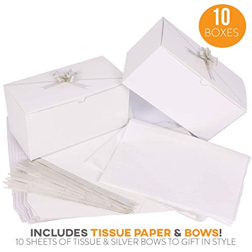 White Gift Boxes 10pack 9 x 4.5 x 4.5 inch Gift Boxes with Lids, Bows and Tissue Paper - Bridesmaid Box Perfect to Wrap Presents, Baby Clothes, Cupcakes, Cookies and Other Gifts.