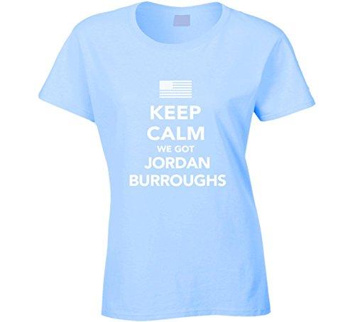Jordan Burroughs Keep Calm USa 2016 Olympics Wrestling Ladies T Shirt 2XL Light Blue by Mad Bro Tees