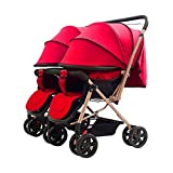 HUAYING Twins Strollers Convertible,Two-Way Implementation,Two-Step Adjustment of The Foot Support, Light Folding, One-Button