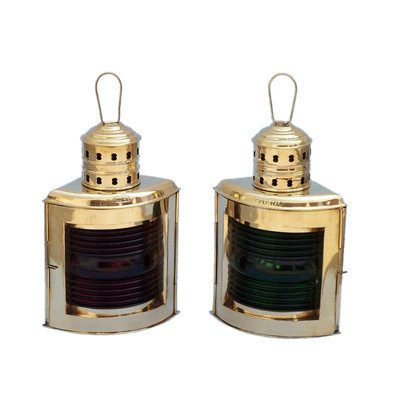 Port and Starboard Oil Lamp (Set of 2) Size: 17″ H x 9.5″ W x 7.5″ D, Finish: Solid Brass