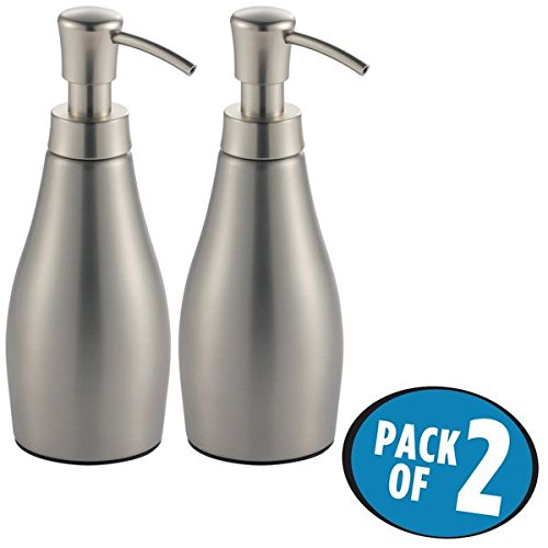 mDesign Liquid Hand Soap Dispenser Pump Bottle for Kitchen, Bathroom | Also Can be Used for Hand Lotion & Essential Oils - Pack of 2, Brushed Stainless Steel -