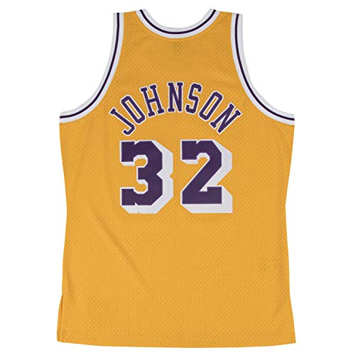 Magic Johnson Los Angeles Lakers Mitchell and Ness Men's Gold Throwback Jesey (Magic Johnson Jersey)