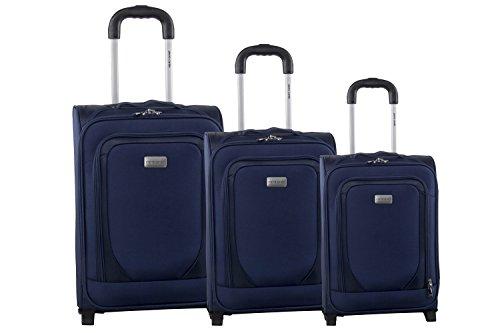 Set valigie trolley 3 pezzi semirigido PIERRE CARDIN blu da viaggio S242