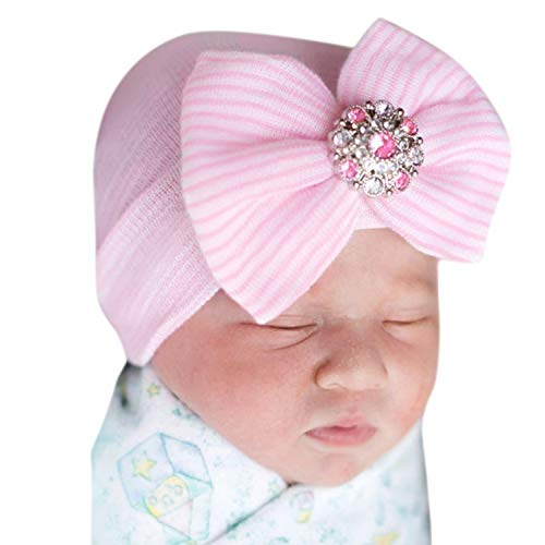 Evelin LEE Newborn Baby Girl Cute Pretty Bow Flower Pearl Hospital Hat (Pink) ()