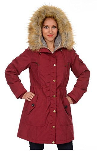 1 Madison Expedition Women's Faux Fur Hooded Full Zipper Jacket-Deep Garnet Red, Large