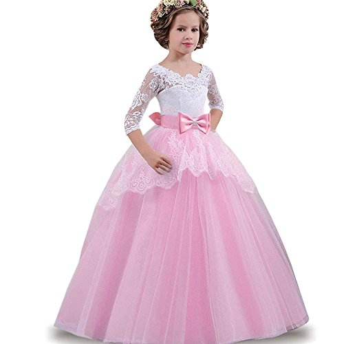 WEONEDREAM Girl Dress for Party Weddings Communication Kids Birthday Gifts Prom Lace Half Sleeve Flower Beaded Bowknot Ball Gowns for 3-4 Years Old Girls Special Occasion Christmas (Pink 110)