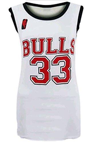 Friendz Trendz -Womens Heat 6 & bull 33 Stampa Cestino di Basket di Celebrity Basket Bulls White