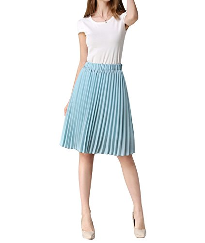 WEHOPS® Women's Skirt Chiffon Pleated Knee-length Summer Skirts One Size Sky Blue
