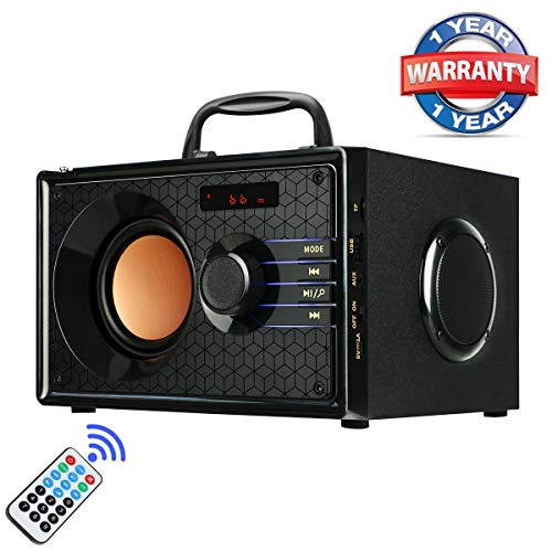 Portable Bluetooth Speakers with FM Radio Subwoofer Remote Control AUX USB, Clear Audio Rich Bass Wireless Home Desktop Speakers Stereo Sound Outdoor Party Speaker for Phone PC Tablet TV(Black)