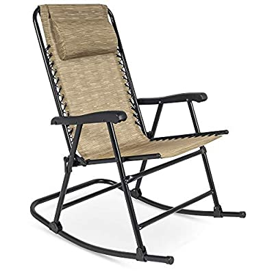 Best Choice Products Foldable Zero Gravity Rocking Mesh Patio Recliner Chair with Headrest Pillow