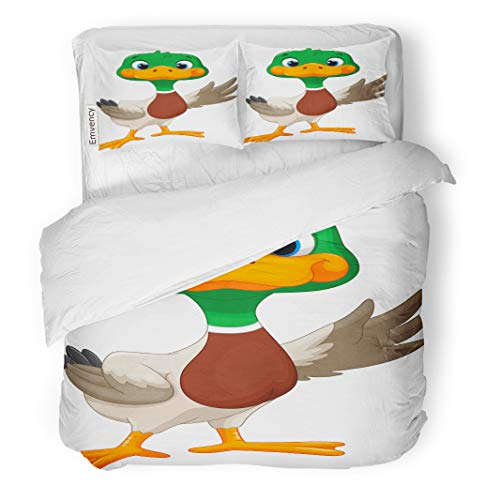 Semtomn Decor Duvet Cover Set Twin Size Colorful Clipart Cute Baby Duck Waving Its Wings Green 3 Piece Brushed Microfiber Fabric Print Bedding Set Cover