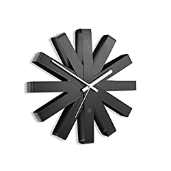 Umbra Ribbon Modern Wall Clock, Battery Operated Quartz Movement, Silent Non Ticking Wall Clocks, Black
