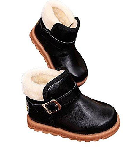 YaoDgFa Stiefel Schuhe Schnee Baby Mädchen Jungen Winterstiefel Winterschuhe Schneestiefel Stiefeletten Warme Kinder Kleinkindschuhe Fell Boots gefüttert Schlupfstiefel Winter Schwarz