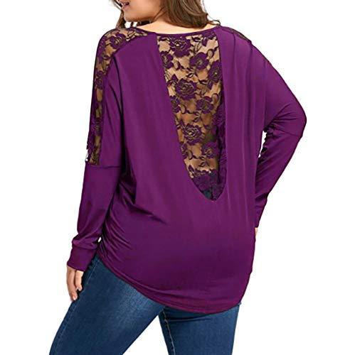 Shirt Nu Aimee7 D'épissure Femme Taill Grande Dos Haut Tops Manches T Longues Violet Dentelle 8qwrF85