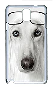 Samsung Note 3 Case Dog Wearing Glasses PC Custom Samsung Note 3 Case Cover White