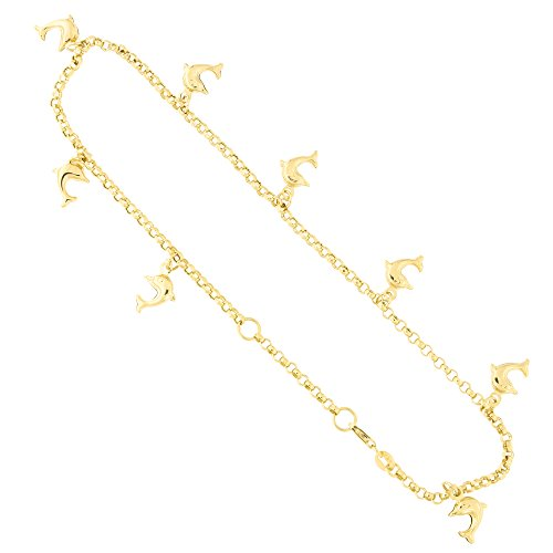 14k Yellow Gold Dolphin Charm Rolo Chain Adjustable Anklet, 9