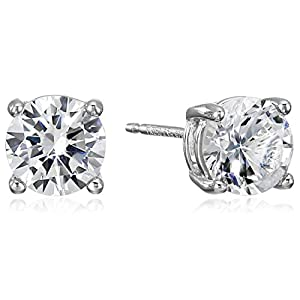 Amazon Essentials Sterling Silver Genuine or Created Round Cut Birthstone Stud Earrings