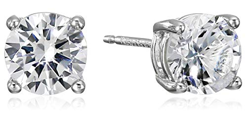 Amazon Essentials Sterling Silver Round Created White Sapphire Birthstone Stud Earrings (April) (Cheap Real Diamond Earrings)