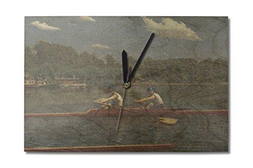 The Biglin Brothers Racing (Artist: Thomas Eakins) c. 1872 - Masterpiece Classic (10x15 Wood Wall Clock, Decor Ready to Hang)