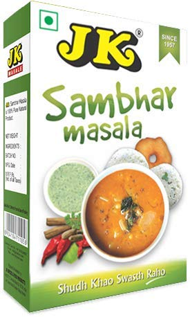 JK Indian Spices/Masala SAMBHAR MASALA (Sambar Curry Spice Mix/Dhal Curry Spice Mix/Daal Curry Spice Mix) 3.53 oz / 100g, Non-GMO, Gluten free and NO preservatives!