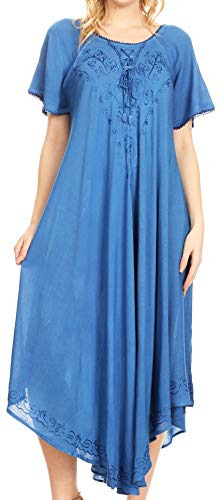 (Sakkas 1701 - Lilia Embroidered Lace Up Bodice Relaxed Fit Maxi Sun Dress - Blue - OS)