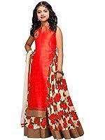 Spangel Fashion Girl's Special Anarkali Lehenga Choli (Red_Semi-stitched_FreeSize)
