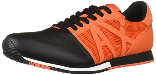 A|X Armani Exchange Men's Lace Up Sneaker with Logo Flame red + Black, 12 -