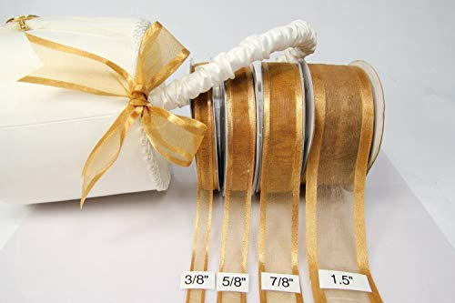 Old Gold Organza Ribbon With Satin Edge-25 Yards X 7/8 Inches