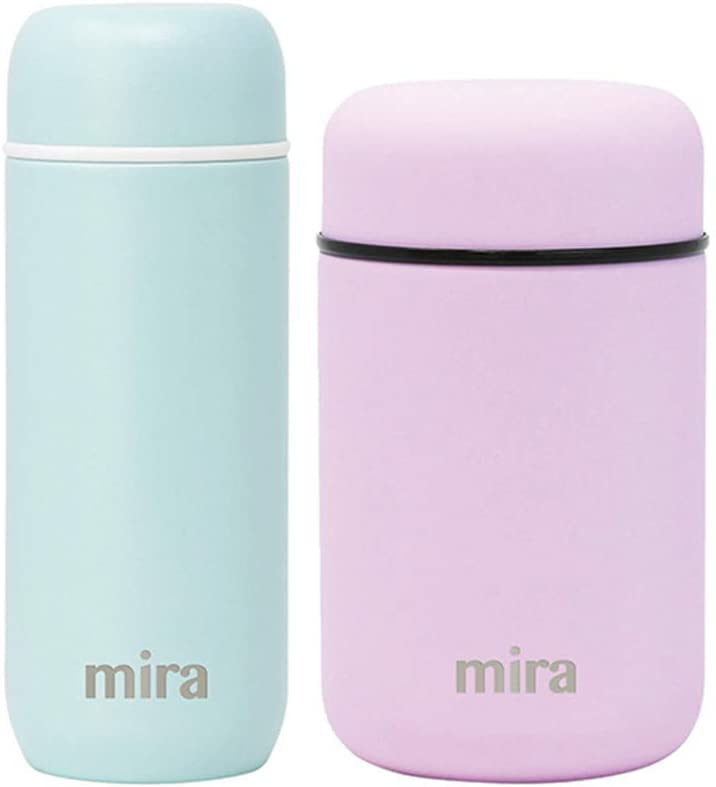 MIRA Kids Lunch Bundle with 7oz Insulated Bullet Flask (Pearl Blue) and 13.5oz Insulated Food Jar (Lilac)