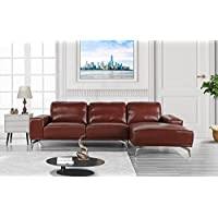 Divano Roma Furniture - Modern Real Leather Sectional Sofa, L-Shape Couch w/ Chaise on Right (Light Brown)