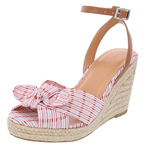 Nautica Women's Curia Espadrille Wedge Sandals with Stripe Bow-Soft Red-6.5 ()