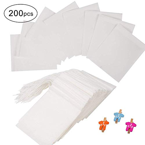 200 Pcs Tea Filter Bags, Longlida Disposable Tea Infuser wit