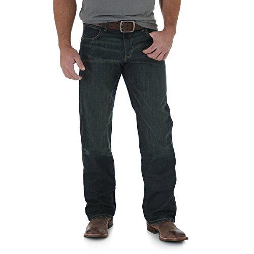Wrangler Men's Jean Mid Rise Relaxed Fit Boot Cut Jean,Worn (Logo Bootcut Jean)
