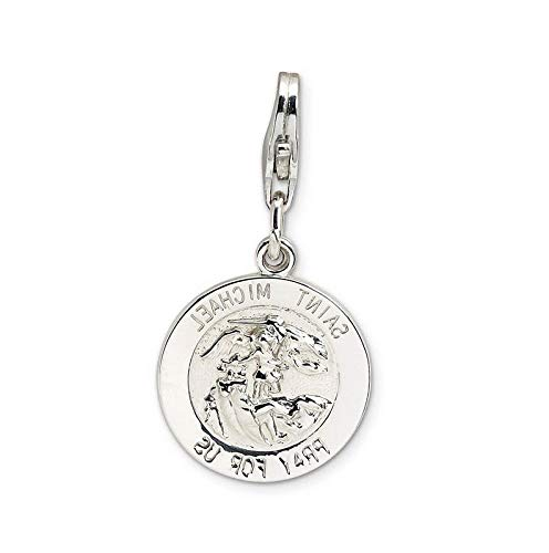 Sterling Silver St Michael Medal with Lobster Clasp Charm (0.5in) Vintage Crafting Pendant Jewelry Making Supplies - DIY for Necklace Bracelet Accessories by CharmingSS -
