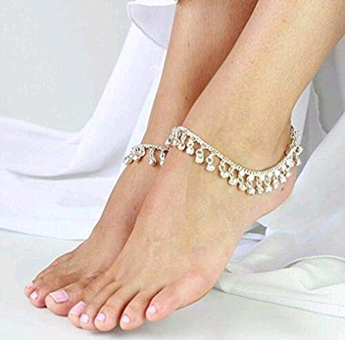 - Tzou Indian Traditional Belly Dance Ghungroo Anklet with Jingling Bells Silver-Toned