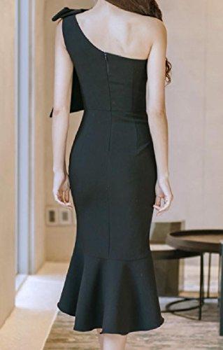 Black Dresses Pure One Shoulder Colour Split Backless Mermaid Coolred Women O8n6HAzwx