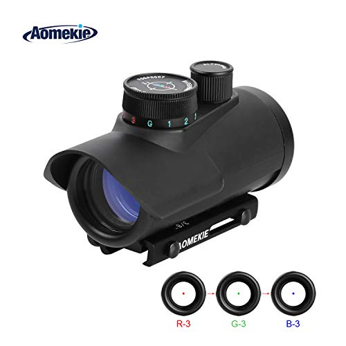 Aomekie Red Dot Sight Airsoft Scope Reflex Sight 3 Brightness Setting with Fiber Optic Sight 20mm/11mm Weaver Picatinny Mount Rails (Best Affordable Reflex Sight)