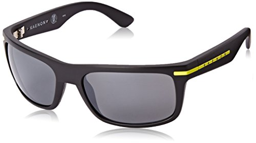 Kaenon Men's Burnet Polarized Rectangular Sunglasses, Matte Black & Yellow Logo, 57 - Logo Yellow Rectangle