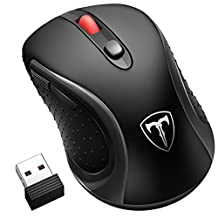 Pictek 2.4G Wireless Mouse, [New Version]Computer Mouse with Nano Receiver, 6 Buttons, 18 Month Battery Life, 2400 DPI 5 Adjustment Levels Universal Mobile Mouse for Left and Right Hands