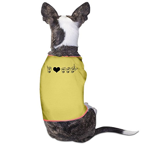 Besioo Fashion Sleeveless Pet Supplies Dog Cat Clothes I Love ASL (American Sign Language) Elbow Pet Apparel Clothing S Yellow