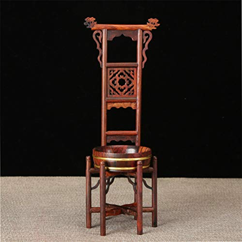 Washstand Wood - J&D ARTDECOR Chinese Traditional Washbasin Miniature Furnitures Classical Red Wood Crafts Ming Qing Dynasty Ornaments Table Decoration Craft Light Grey Chinese Washstand